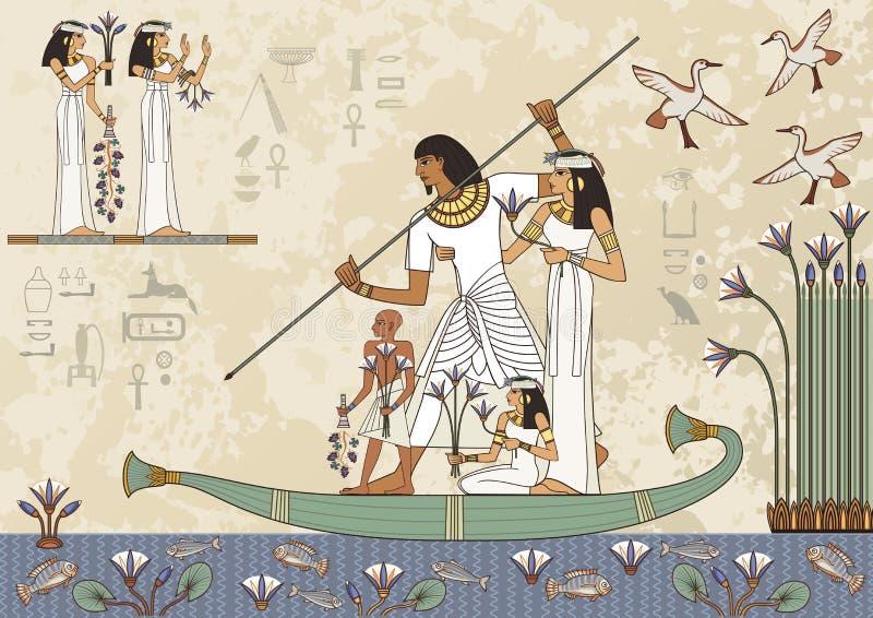 Bandeira de Egito antigo Pinturas murais com cena de Egito antigo ilustração do vetor
