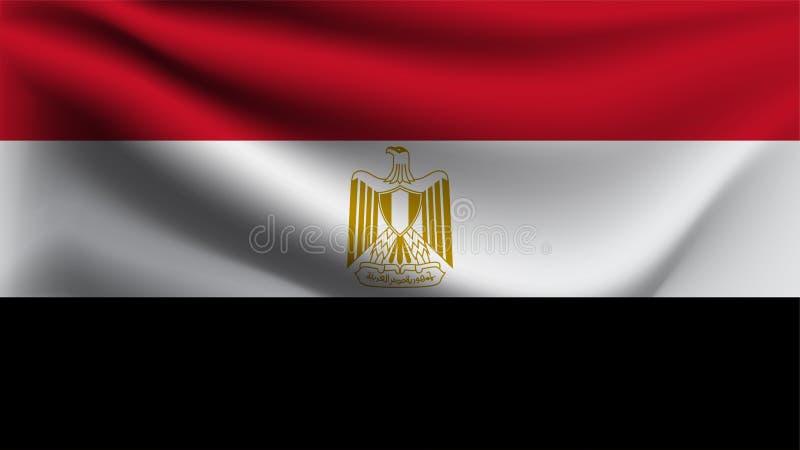 Bandeira de Egito que acena com a bandeira da onda da ilustração do vento 3D ilustração do vetor