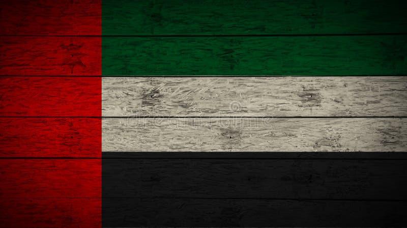 A bandeira de Emiratos Árabes Unidos pintou em placas de madeira idosas bandeira de madeira dos UAE Fundo abstrato da bandeira Ba fotos de stock