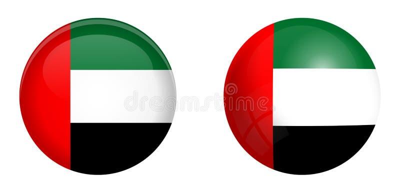 Bandeira de Emiratos Árabes Unidos UAE sob o botão da abóbada 3d e na esfera/bola lustrosas ilustração stock