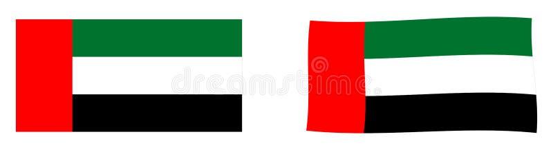 Bandeira de Emiratos Árabes Unidos UAE Vers simples e levemente acenando ilustração royalty free