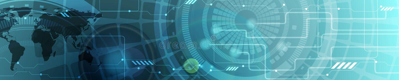 Bandeira de encabeçamento azul da Web da tecnologia abstrata ilustração do vetor
