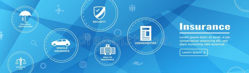 Bandeira de encabeçamento da Web do seguro - proprietário das tampas, médicos, vida, ilustração royalty free