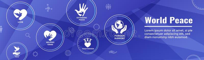 Bandeira de encabeçamento da Web da paz de mundo com o ico da mão e do coração do globo da pomba ilustração royalty free