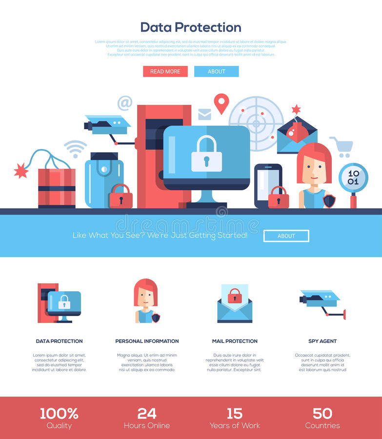 Bandeira de encabeçamento do Web site dos serviços de proteção de dados com elementos do webdesign ilustração do vetor