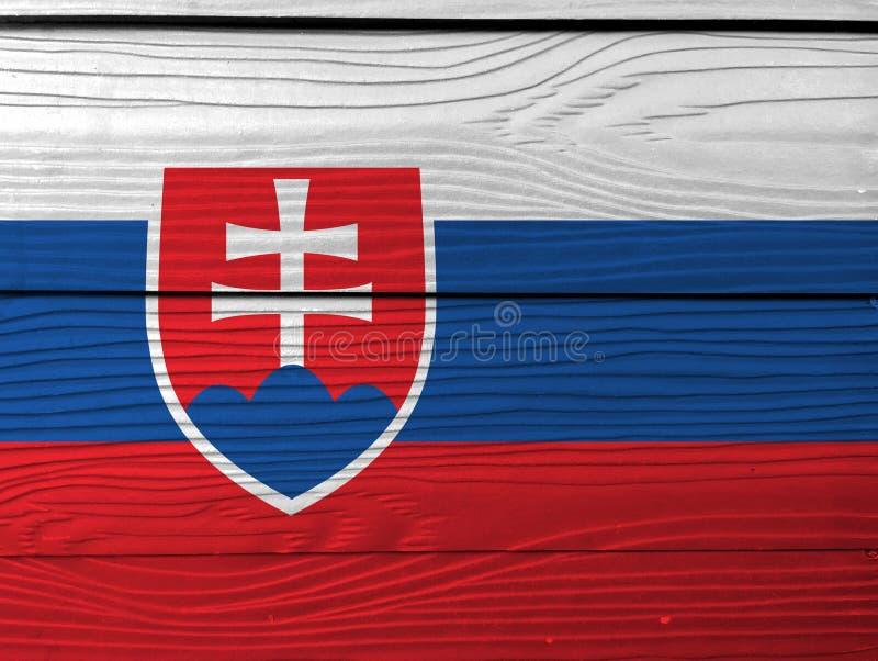 Bandeira de Eslováquia no fundo de madeira da parede Textura eslovaca da bandeira do Grunge foto de stock