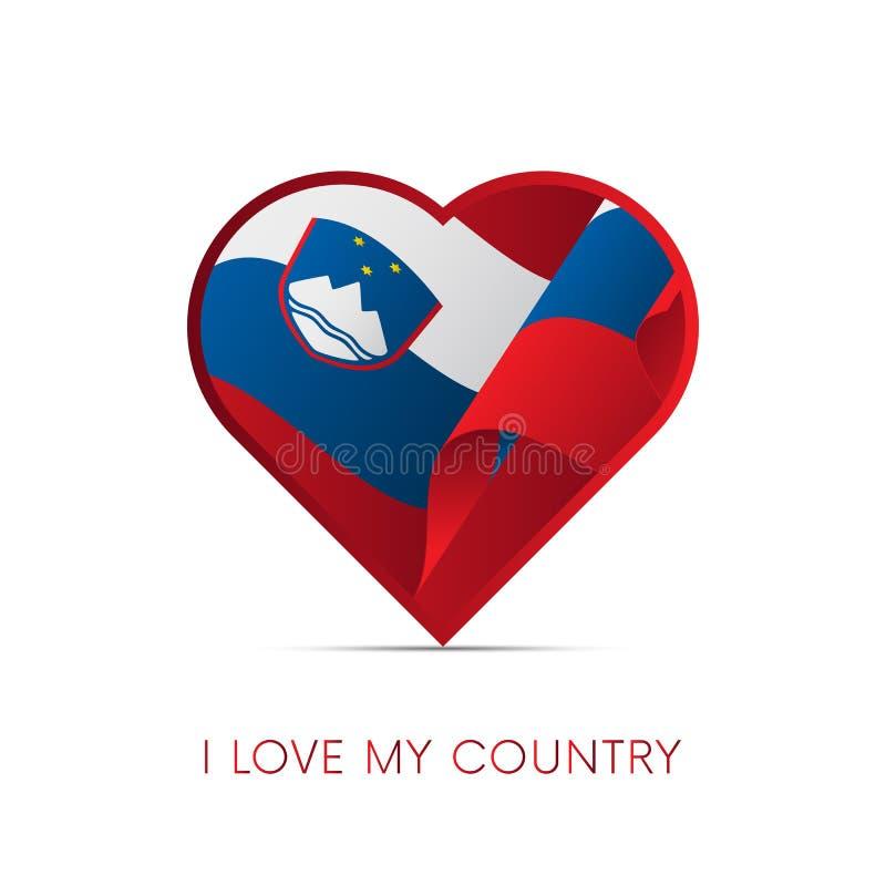 Bandeira de Eslovênia no coração Eu amo meu país sinal Vetor ilustração stock