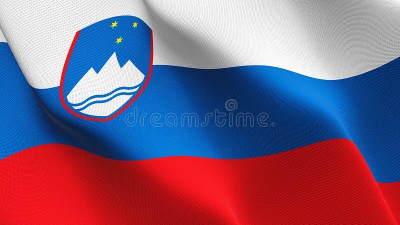 Bandeira de Eslovênia que acena no vento ilustração royalty free