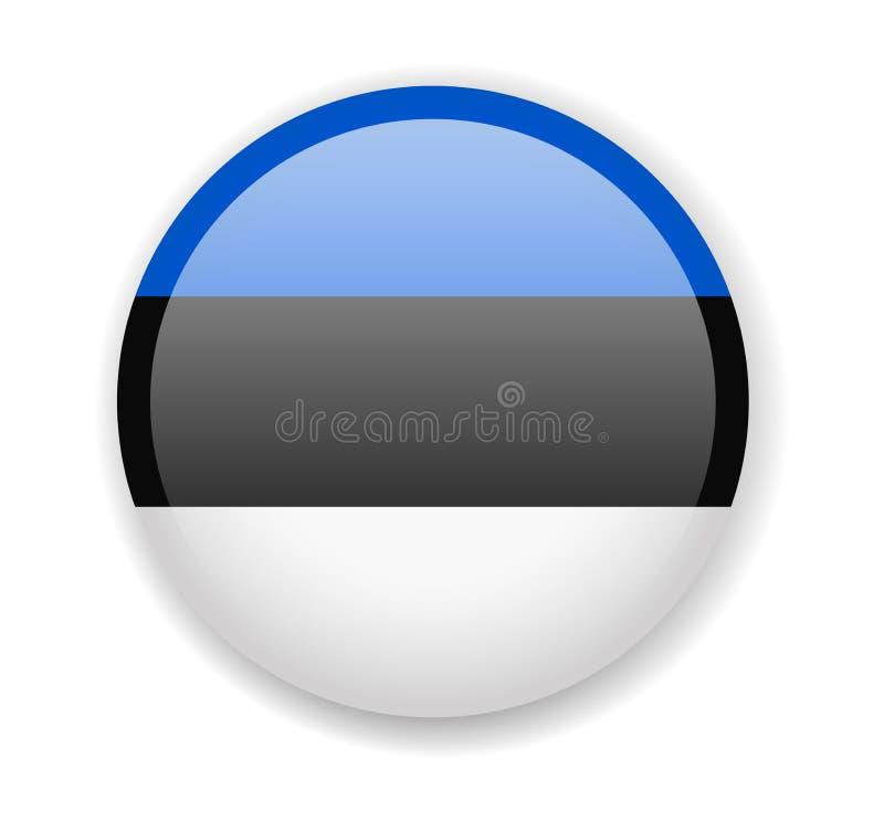 Bandeira de Estónia Ícone brilhante redondo em um fundo branco ilustração stock