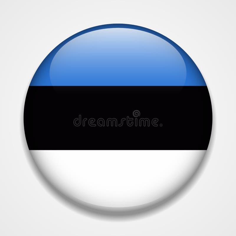 Bandeira de Estónia Crachá lustroso redondo ilustração royalty free