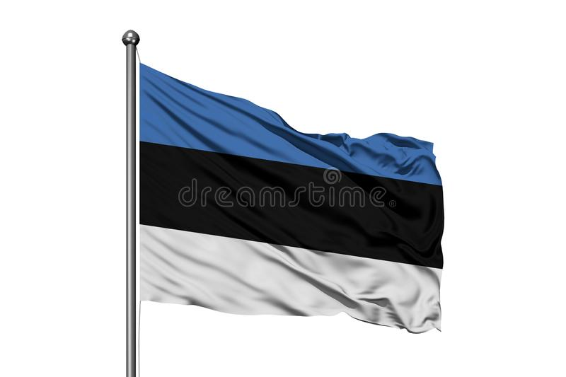 Bandeira de Estônia que acena no vento, fundo branco isolado Bandeira est?nia foto de stock