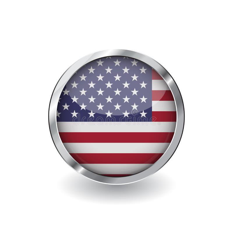 Bandeira de Estados Unidos da América, botão com quadro do metal e sombra Ícone do vetor da bandeira dos EUA, crachá com efeito l ilustração do vetor
