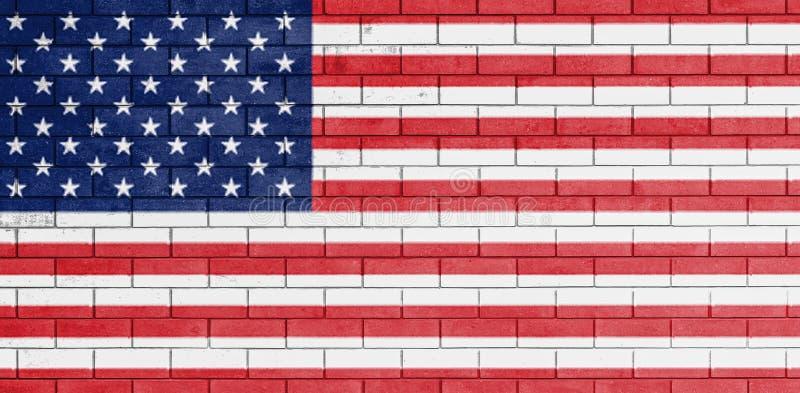 A bandeira de Estados Unidos da América pintou ilustração stock