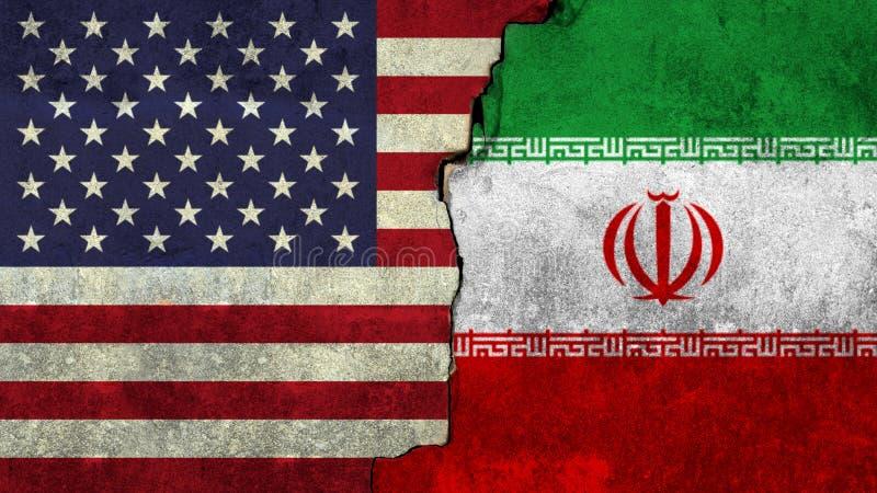 Bandeira de Estados Unidos e de Irã pintados na parede imagens de stock royalty free