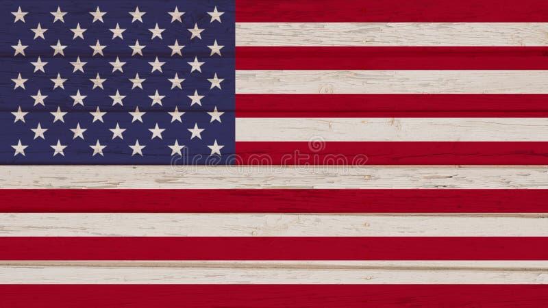 Bandeira de Estados Unidos em um fundo de madeira fotografia de stock