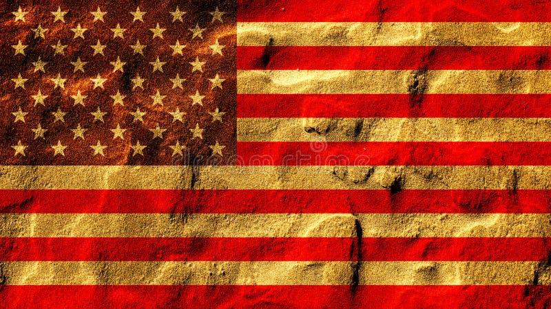 Bandeira de Estados Unidos na areia imagens de stock royalty free