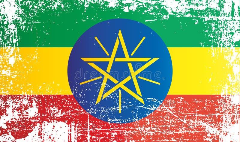 Bandeira de Etiópia, Federal Democratic Republic of Ethiopia Pontos sujos enrugados ilustração stock