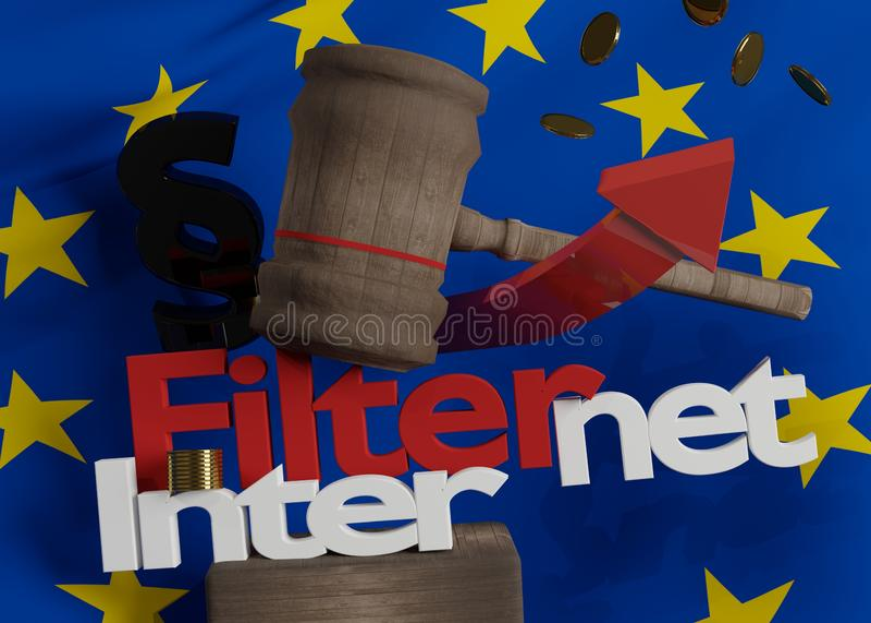 Bandeira de Europa no martelo de madeira do juiz com Internet corajoso das letras ilustração stock