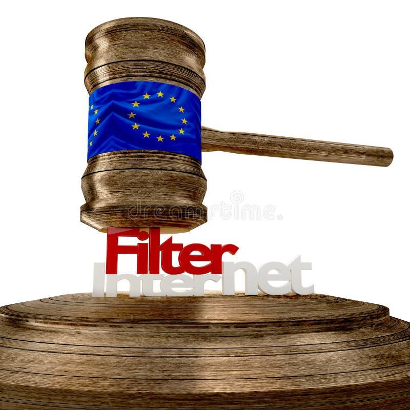 Bandeira de Filternet de Europa no martelo de madeira do juiz com letras corajosas ilustração royalty free