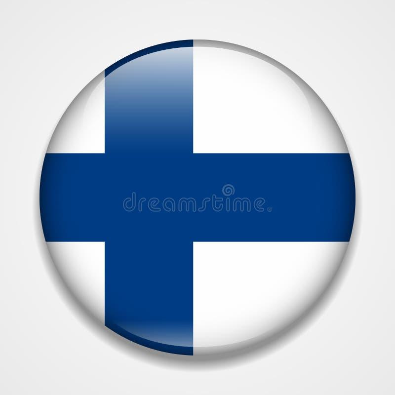 Bandeira de Finlandia Crachá lustroso redondo ilustração stock