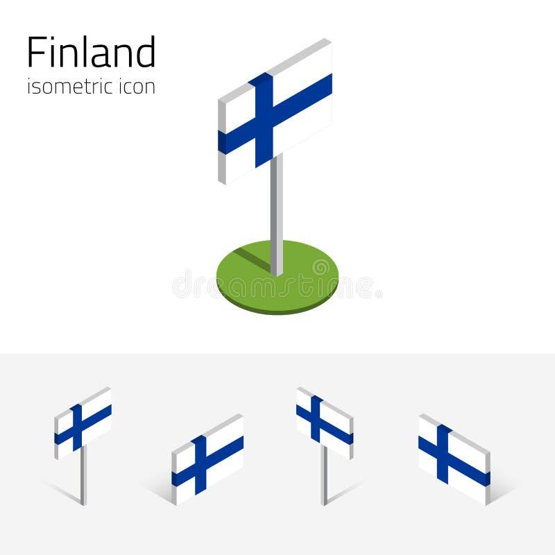Bandeira de Finlandia, grupo do vetor dos ícones 3D isométricos ilustração do vetor
