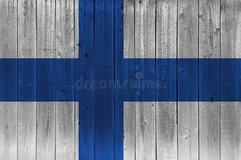 Bandeira de Finlandia pintada na prancha de madeira velha ilustração do vetor