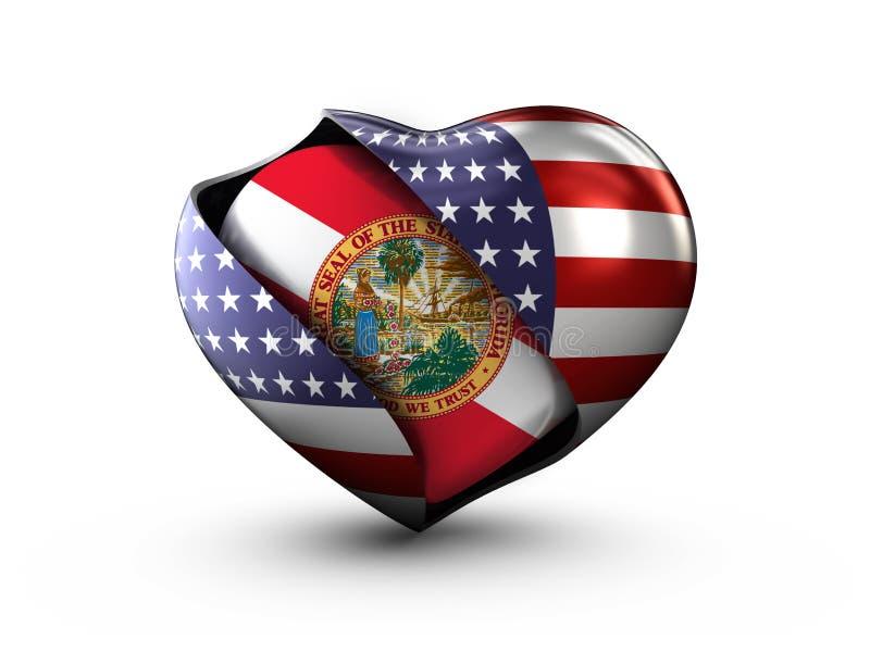 Bandeira de Florida do estado dos EUA no fundo branco ilustração royalty free