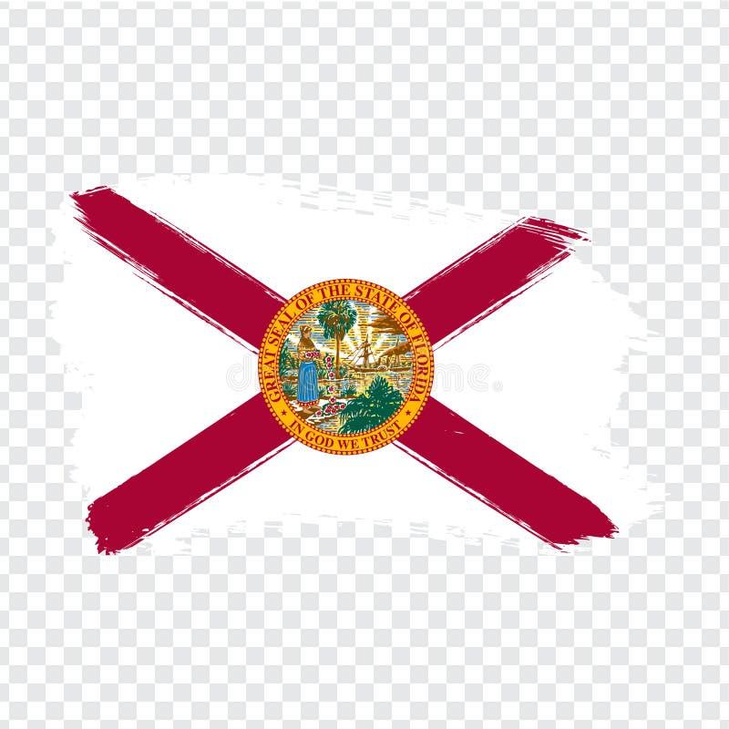Bandeira de Florida dos cursos da escova Estados Unidos da Am?rica Bandeira Florida no fundo transparente para seu projeto do sit ilustração do vetor