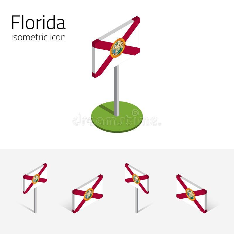Bandeira de Florida EUA, ícones lisos isométricos do vetor 3D ilustração stock