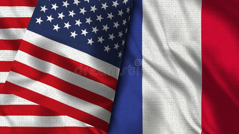Bandeira de França e dos EUA - 3D bandeira da ilustração dois ilustração royalty free