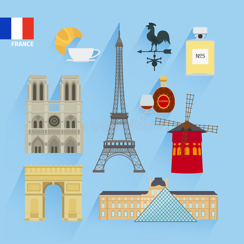 Bandeira de França e marcos de Paris ilustração stock