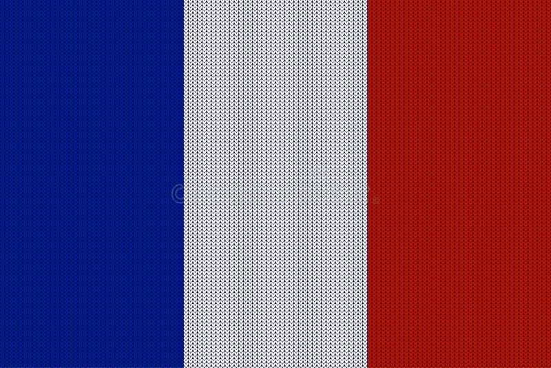 A bandeira de França no vetor fez malha a textura de lã ilustração stock