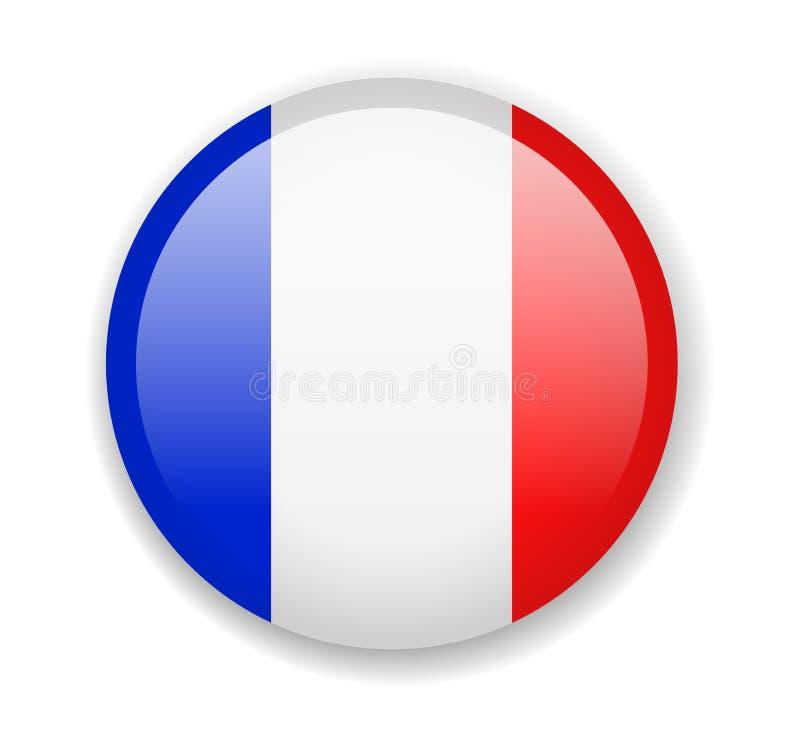 Bandeira de France Ícone brilhante redondo em um fundo branco ilustração royalty free