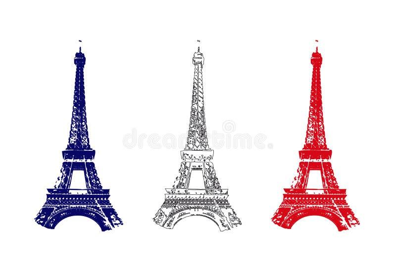 Bandeira de France com excursão Eiffel ilustração royalty free