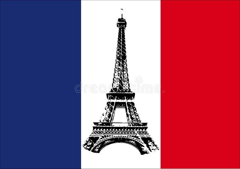 Bandeira de France com excursão Eiffel ilustração do vetor