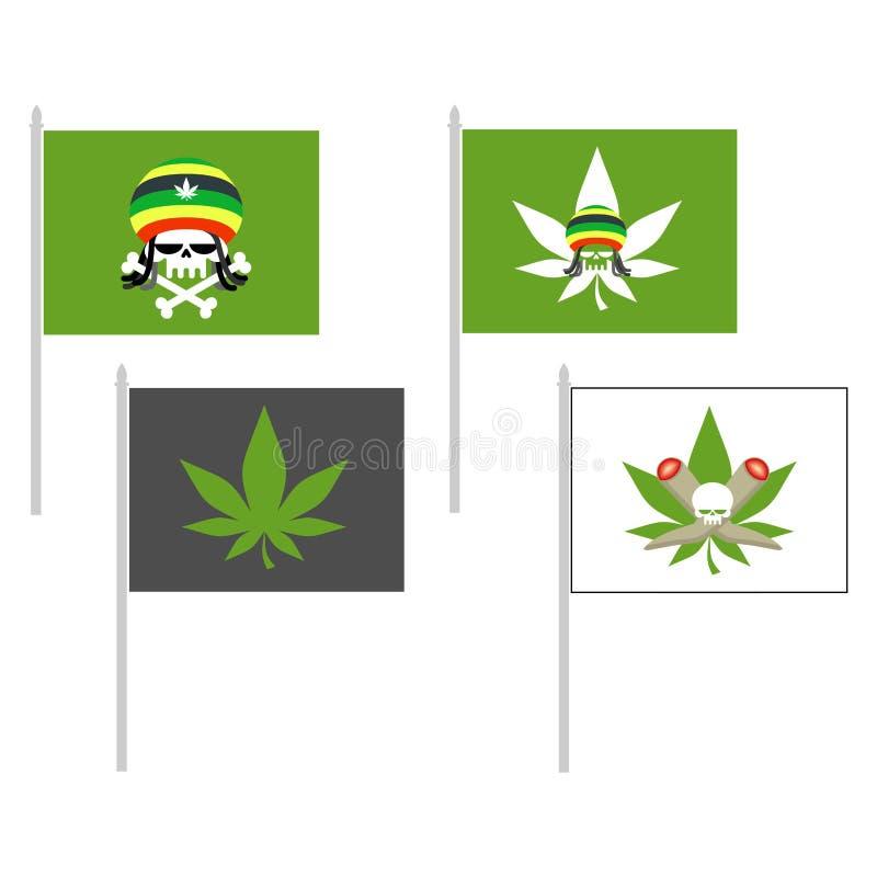 Bandeira de fumo das drogas Crânio do chapéu de Rasta Folha do cannabis Illus do vetor ilustração royalty free