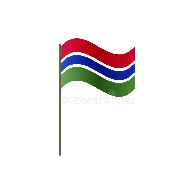 Bandeira de Gâmbia no mastro de bandeira Cores e proporção oficiais corretamente Ondulação da bandeira de Gâmbia no mastro de ban ilustração stock