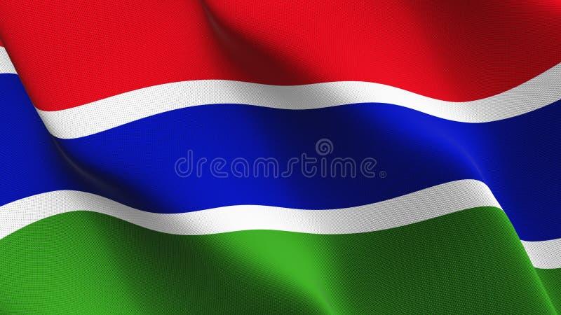 Bandeira de Gâmbia que acena no vento ilustração do vetor