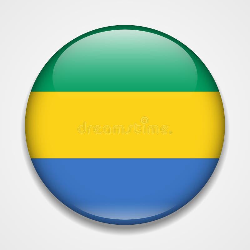 Bandeira de Gabon Crachá lustroso redondo ilustração stock