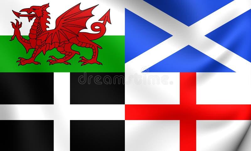 Bandeira de Gales, de Escócia, de Cornualha e de Inglaterra ilustração royalty free