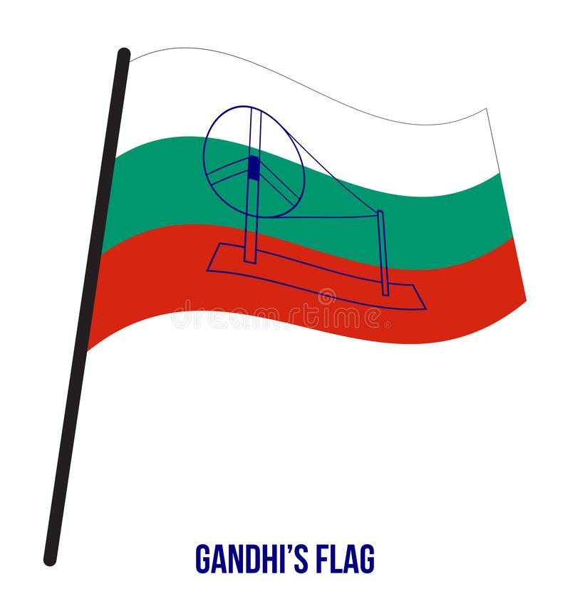 A bandeira de Gandhi introduziu no congresso que encontra em 1921 a ilustração do vetor no fundo branco ilustração stock
