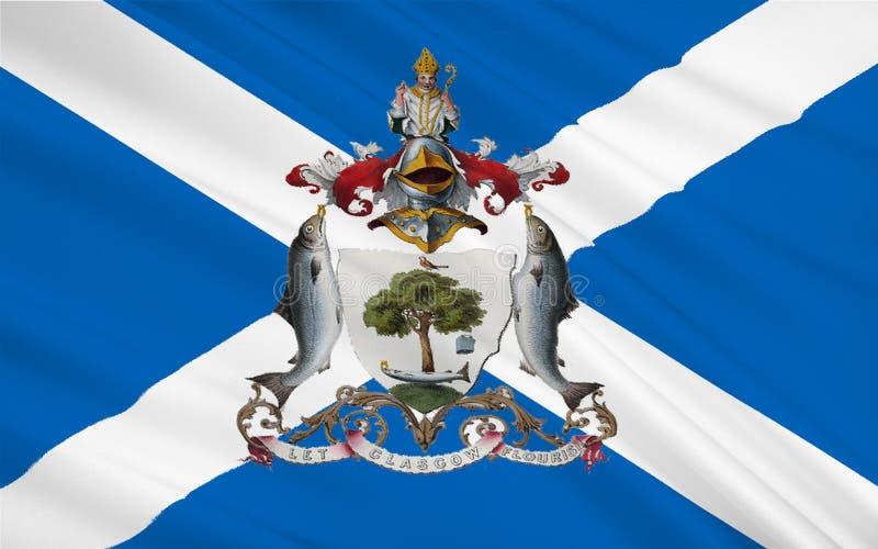 A bandeira de Glasgow é a cidade a maior em Escócia ilustração stock