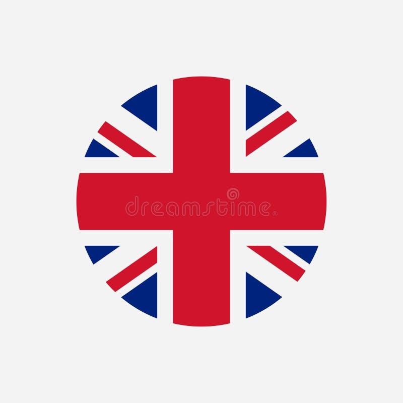 Bandeira de Grâ Bretanha Logotipo redondo de Union Jack Ícone do círculo da bandeira de Reino Unido Vetor ilustração stock