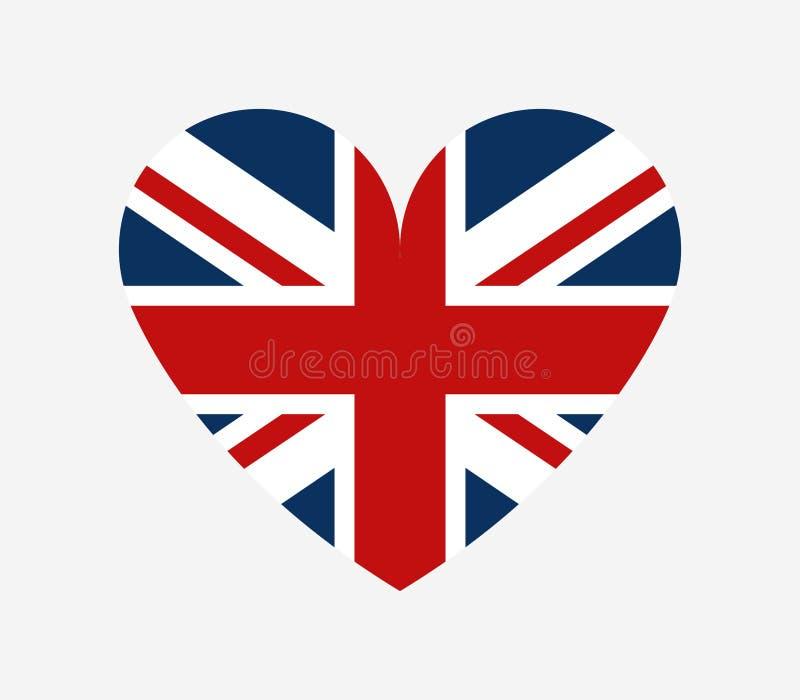 Bandeira de Grâ Bretanha na forma de um coração ilustração do vetor
