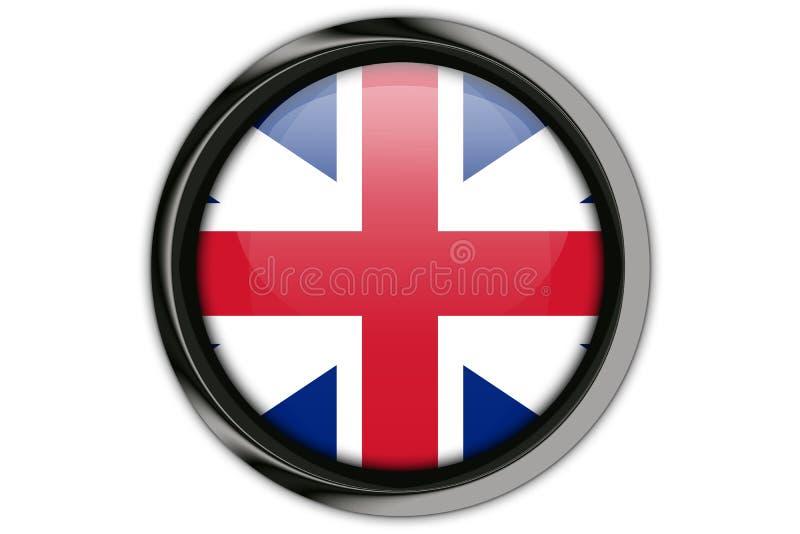 Bandeira de Grâ Bretanha no pino do botão isolado em Backgroun branco ilustração stock
