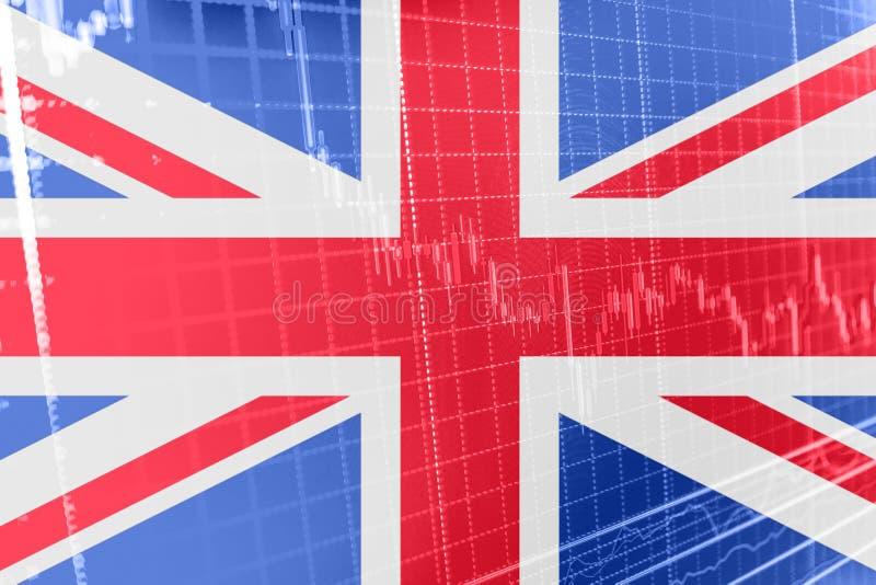 Bandeira de Grâ Bretanha Union Jack com o gráfico da carta da bolsa de valores que indica Brexit ilustração stock