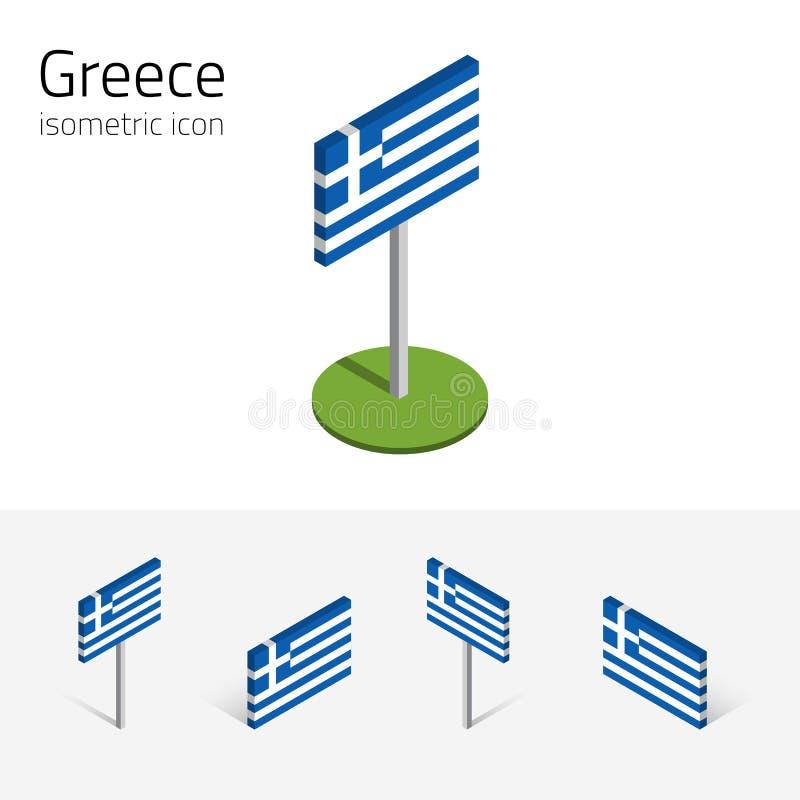 Bandeira de Grécia, grupo do vetor dos ícones 3D isométricos ilustração stock