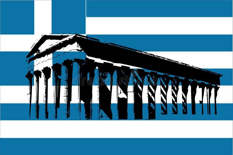 Bandeira de Greece com Parthenon ilustração royalty free