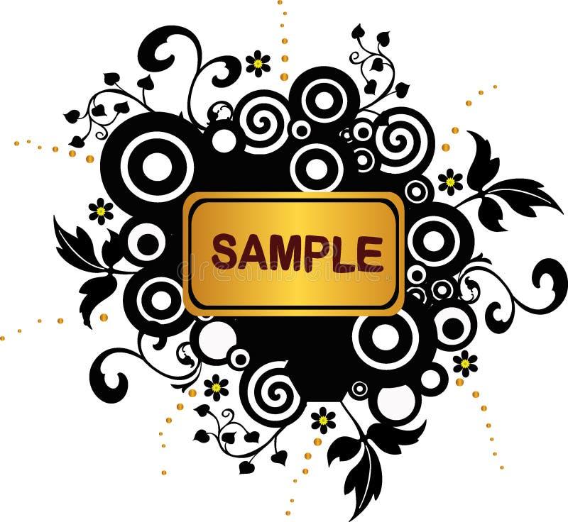 Bandeira de Grunge com círculos e elementos florais - vetor ilustração royalty free