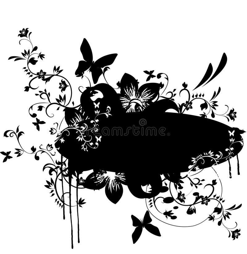 Bandeira de Grunge com elemento floral ilustração stock